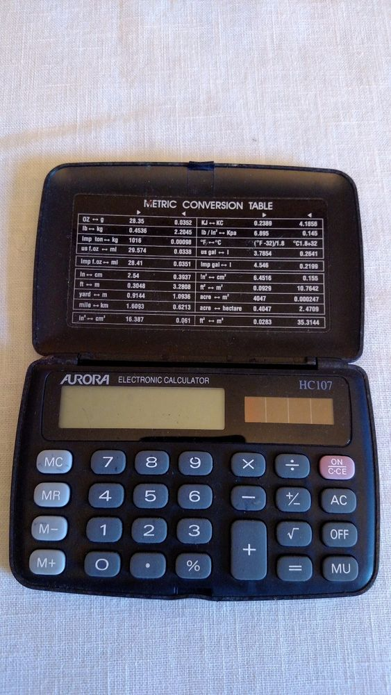 Aurora Electronic Calculator HC107 Metric Conversion Table Black Snap Close #AuroraElectronics