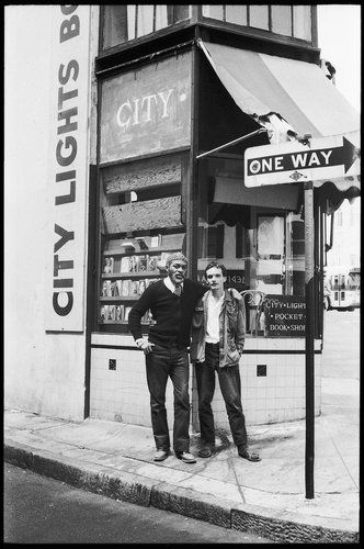 Ted Joans & Michael Kellner in front of City Lights Bookstore, San Francisco (August 1980) | Photo: Alicia Joans