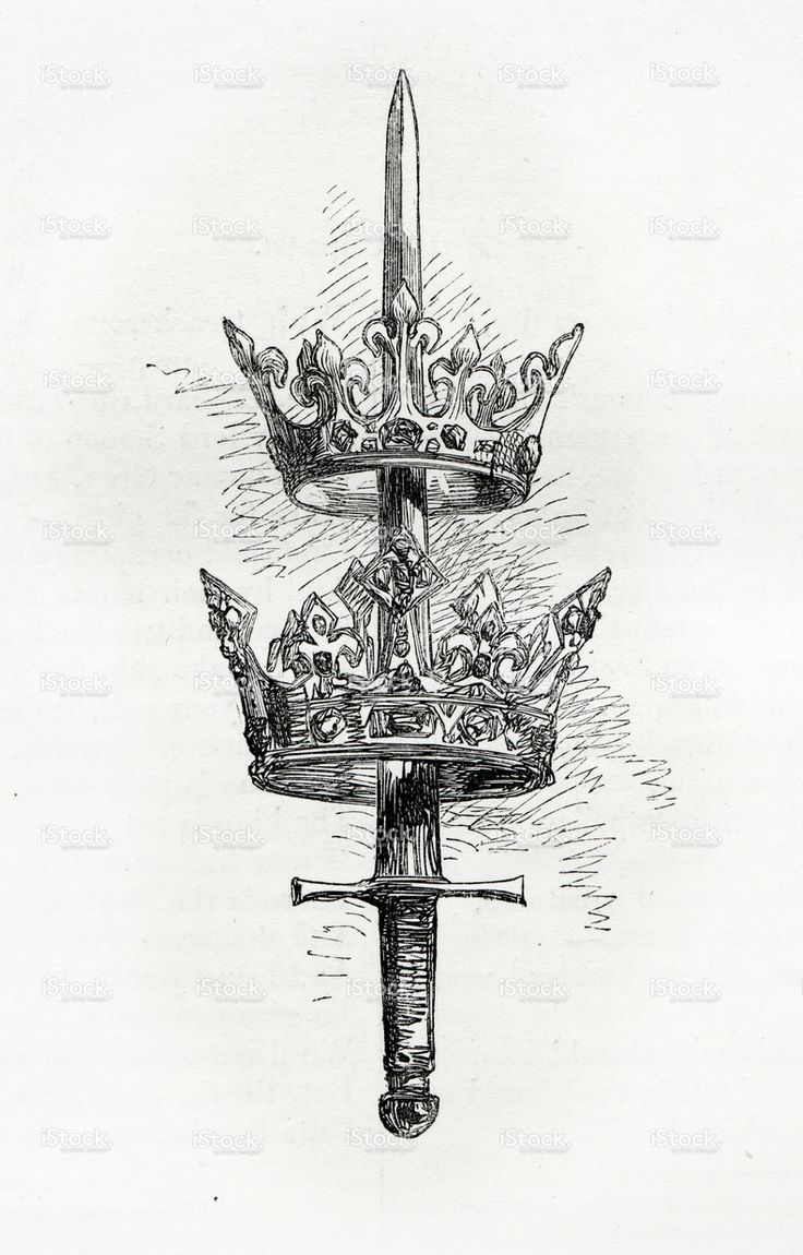 Sword and Crown stock illustration 7964236 - iStock