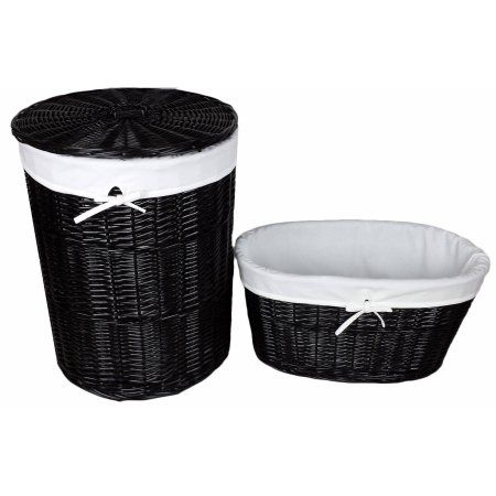 Baum Black Willow Hamper and Laundry Basket