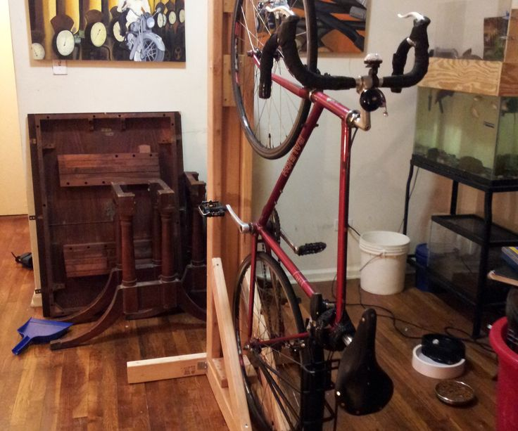 "I built a wooden freestanding bike rack for a single bike based off my dual-bike design.  I had some scrap 2x4s. but I needed to purchase a few new 2x4s for this rack.  The bike hook is hung at 63.5"", which is perfect for one of my bikes. Lengths to cut 2x4s: 1 - 65"" 2 - 61 3/4"" 2 - 36"" 2 - 28.5"" 1 - 24"" or more 3 - 6"" 2 - 3-6"" (srap pieces are fine, size doesn't matter as long as a minumum of 3"") Screws: 2.5"" wood screws Bike Hooks:..."