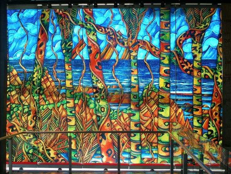 Pararaha Landscape by Dean Buchanan (2006) at Henderson Railway Station. Photo taken after the right-hand panel of glass was smashed in a storm in 2014.