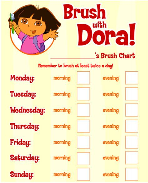 A  calendar for preschoolers to help remember to brush their teeth! #Dora…