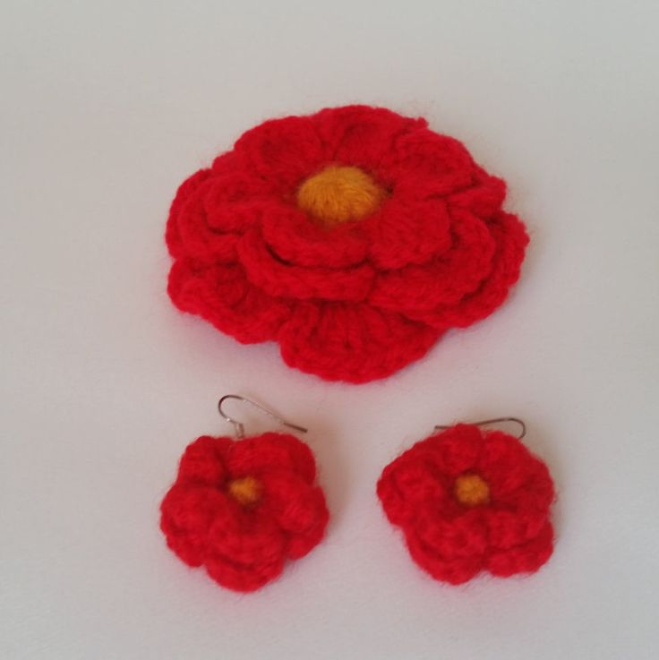 Handmade Crochet Earrings and Brooch Set Red and Yellow, Red Brooch, Flower Brooch, Red earrings, Handmade earrings, Crochet earrings by BumyCraft on Etsy