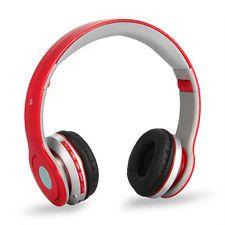 Casque Ecouteur Bluetooth Sans Fil Stéréo FM Radio pour Téléphone MP3 Rouge