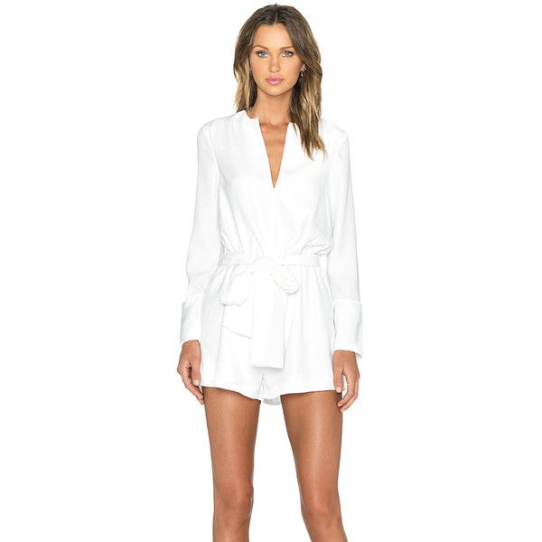 The Fifth Label Adore You Long Sleeve Playsuit Rompers ($70) ❤ liked on Polyvore featuring jumpsuits, rompers, rompers & jumpsuits, long sleeve romper, white romper, white long sleeve jumpsuit, white jumpsuit and long sleeve jump suit