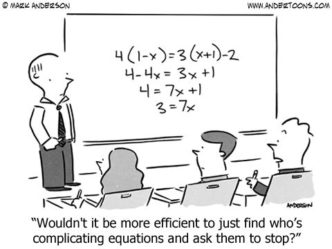 Algebra Cartoon 6877: Wouldn't it be more efficient to just find who's complicating equations and ask them to stop?