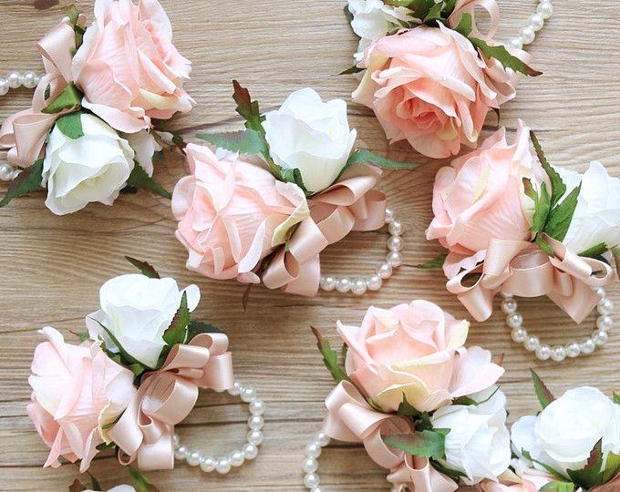 Pink Rose pols Corsage, bruidsmeisje corsage met parel corsage, blozen corsage, blush roze bloem corsage, bruiloft blozen boutonnieres blozen