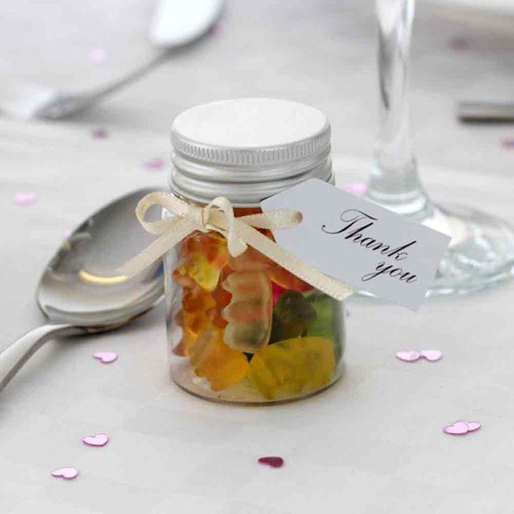 Mini Filled Wedding Favour Jar with Teddy Bears