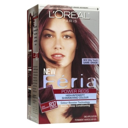 L'Oreal Feria #r37 Blowout Burgundy best at home burgandy color premixed! I'be been using this 6 months and it's fabulous!!!,