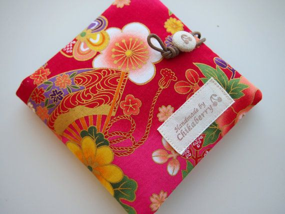 Sanitary Pouch  Kimono Pattern PINK 2  by Chikaberry on Etsy, $12.00