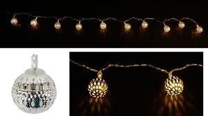 150**LED řetěz 120 cm stříbrné koule 2,5 cm na baterie, 10 led