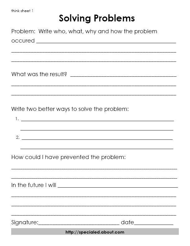 Think sheets for behavior problem solving