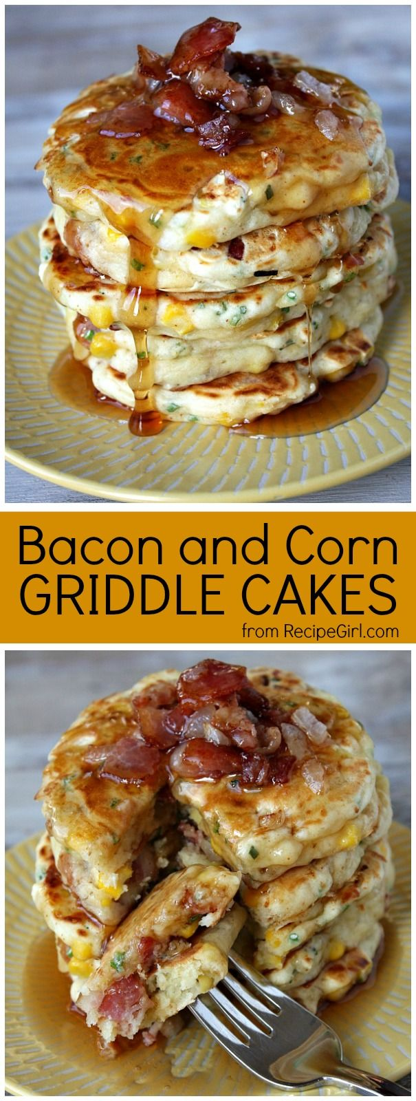 Bacon and Corn Griddle Cakes - a savory pancake recipe to serve for breakfast... or as breakfast for dinner!  Recipe from RecipeGirl.com