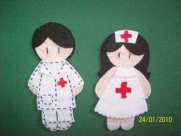 Felt doctor and nurse