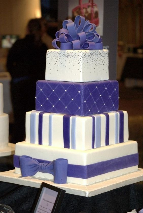 modern violet square wedding cake... each layer is like looking at a new/different cake: