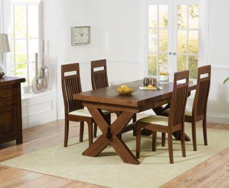 Bordeaux Dark Oak 160cm Extending Dining Table With Monaco Chairs Part 50