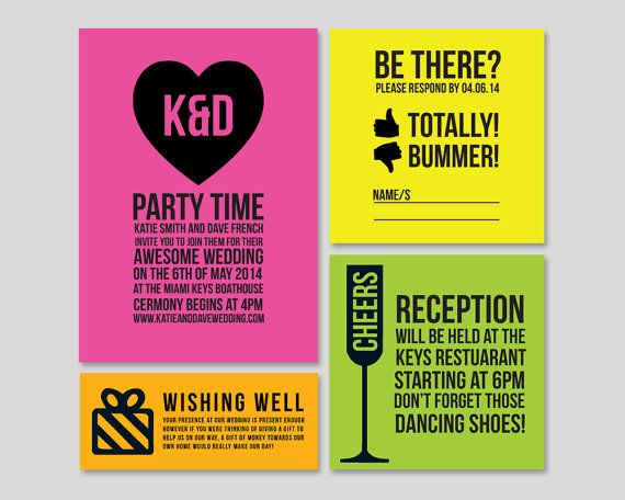 Neon Wedding Invitation Fun Wedding Invite By DAYDREAMPRINTS, $90.00