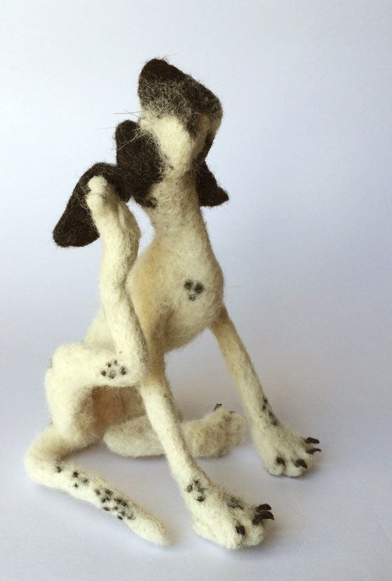 Felt dog sculpture Pointer by mikaelabartlettfelt on Etsy