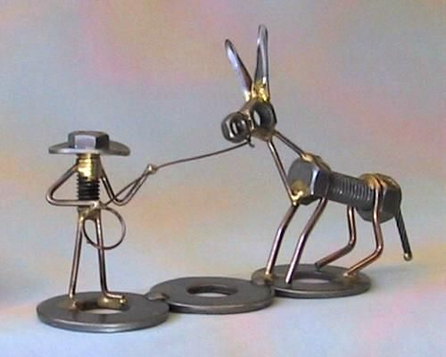 The Pack Rats [3045] COWBOY PULLING HIS STUBBORN MULE - #Nut and #bolt sculptures