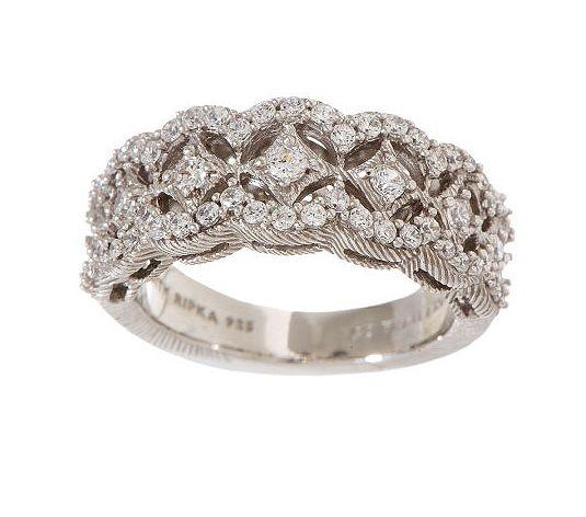 judith ripka sterling pave diamonique graduatedband ring qvccom - Qvc Wedding Rings