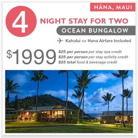 4 Night Ocean Bungalow Stay + Airfare to/from Kahului Airport