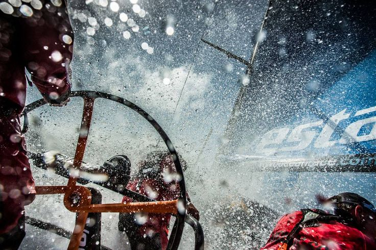 pinterest.com/fra411 #sailing -  a spectacular look at Rob Salthouse at the helm of the Vestas Wind