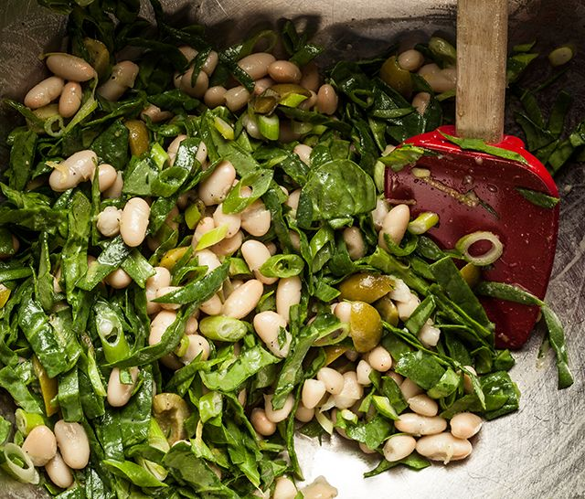 Tuscan Salad (greens, olives, cannellini) with Grilled Pork Chops