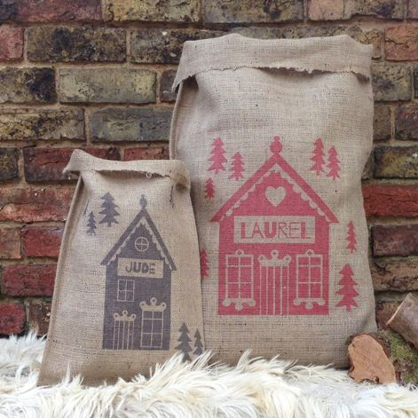 Personalised Christmas Sack - traditional hessian sacks screen printed with an alpine lodge design which can be personalised with a name.