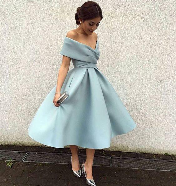 Charming Prom Dress,Elegant Prom Dress,Tea Length Prom Dress,Off