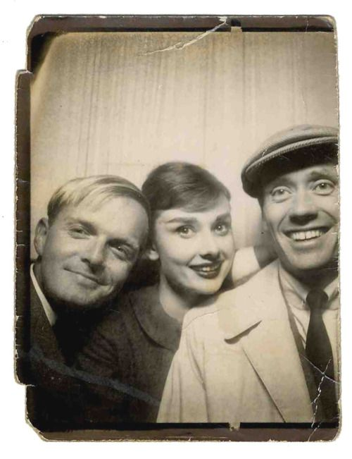 Photo booth - Truman Capote, Audrey Hepburn and Mel Ferrer