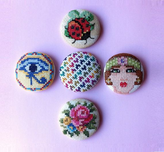Brooch  Cross Stitch  Unique  Handmade. by ✿ COSIMITAS on Etsy ✿