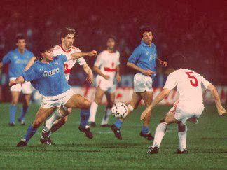 Napoli 2 Vfb Stuttgart 1 In May 1989 At Stadio San Paolo Diego Maradona In Action In The Uefa Cup Final 1st Leg Cup Final Diego Maradona Soccer