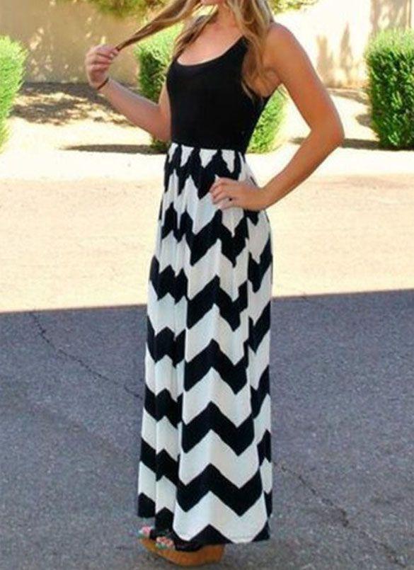 Stitching Wave Stripes Maxi Dress on Luulla