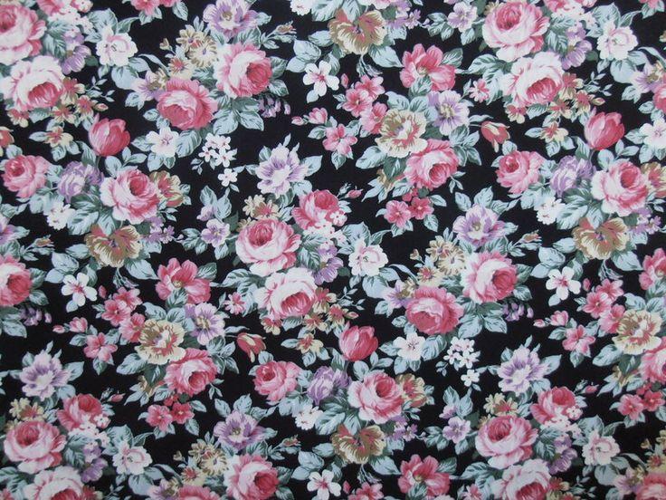 100% Cotton Poplin Floral Print Black | Textile Express | Buy Fabric