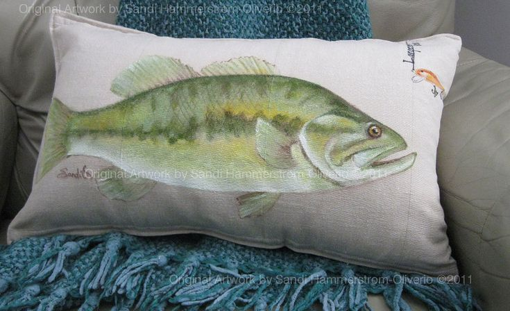 Largemouth Bass Fish Decorative Pillow Sham Hand painted by MyMichiganMemories on Etsy