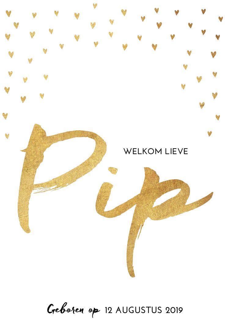 Hip en clean geboortekaartje met de naam van je meisje in goud!