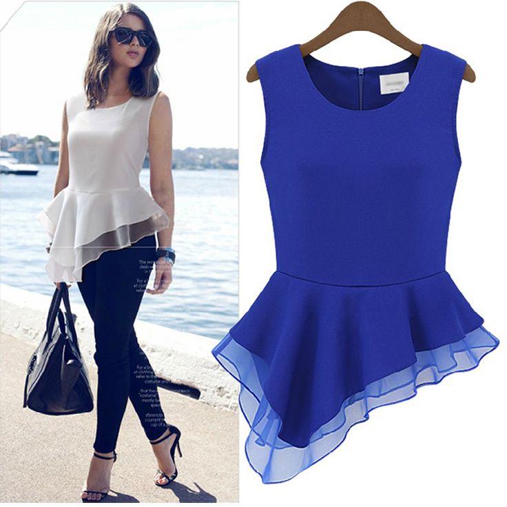 Fashion O Neck Lace-trimTank Sleeveless Blue Chiffon Waist Skirt Mini Dress