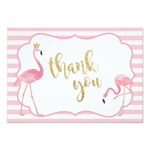 Flamingo Thank You Card Zazzle Com In 2021 Custom Thank You Cards Flamingo Birthday Party Thank You Cards