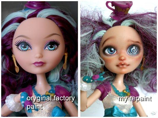 Maddie Hatter EAH repaint before and after by kamarza.deviantart.com on @deviantART