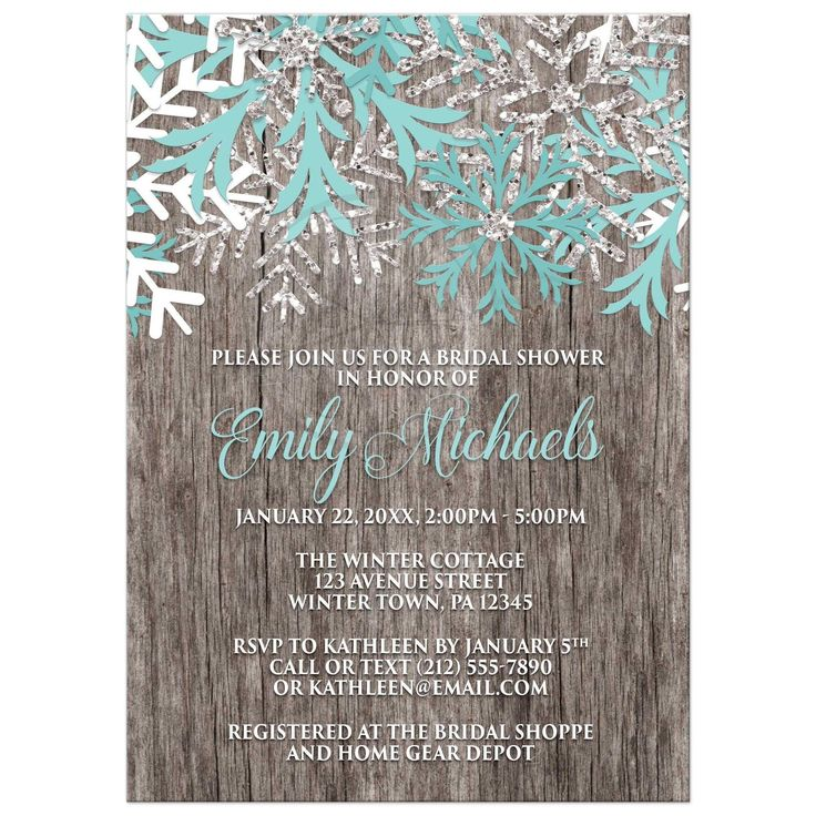 blank beach bridal shower invitations%0A Bridal Shower Invitations  Teal Snowflake Rustic Winter Wood