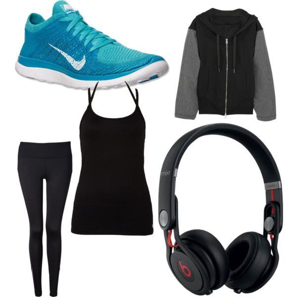 Kates jogging outfit at Kerry Park. Nike Free Runners, Stella McCartney for Adidas zip-up, Forever 21 workout leggings, Forever 21 workout tank top, Dr Dre Beat headphones