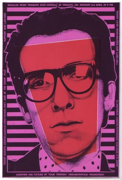 Elvis Costello concert flyer.