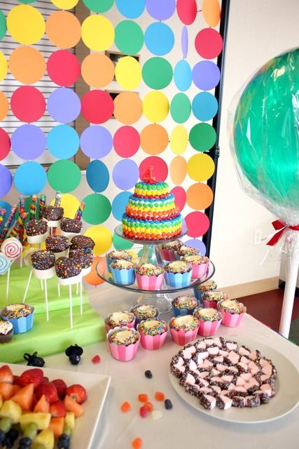 623 best images about candyland rainbow cupcakes sweets for Party backdrop ideas