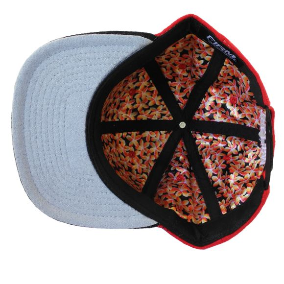 The Firm Hawaii AMF Wool Red/Black Snapback インナー プルメリア生地