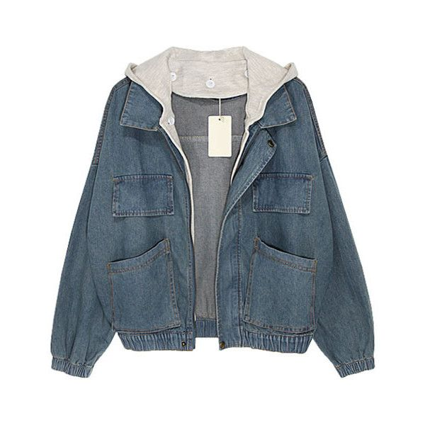 Faded Denim Jackets With Contrast Hood ($101) ❤ liked on Polyvore