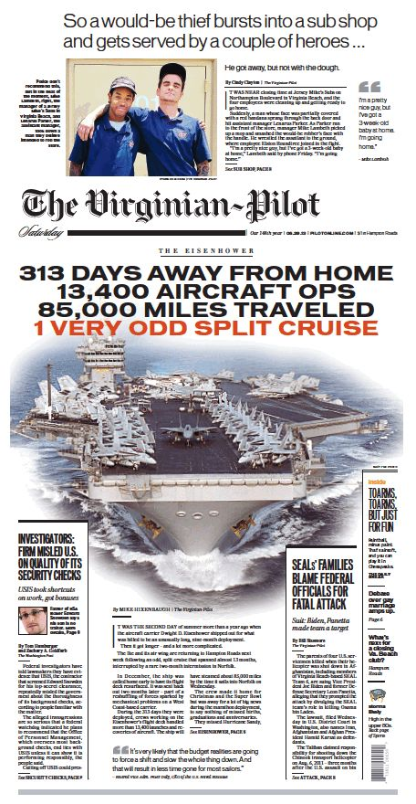 The Virginian-Pilot's front page for Saturday, June 29, 2013.