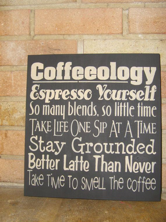 Kitchen COFFEEOLOGY, Hand Painted Primitive Wood Sign, Typography, Subway Art, Kitchen, Dawnspainting, Home Decor