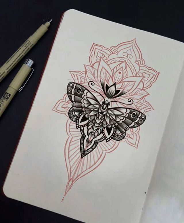 Lotus e Borboleta • #desenhando #sketch #ink #art #tattoo #ideia #lotus