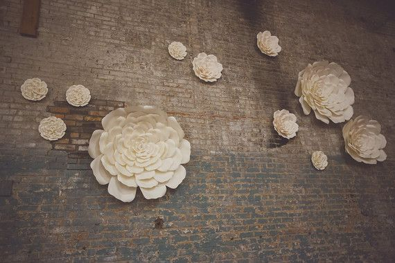 Whimsical wedding decor-large paper flowers